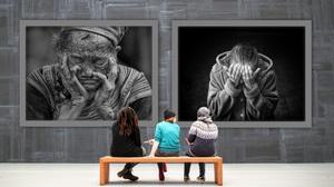 Exhibit People Sadness Sitting 2587x1496 Wallpaper