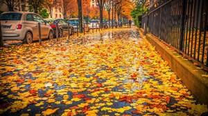Leaf Sidewalk Car 2048x1365 wallpaper