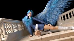 Woman Wings Boots Blue Hair 1920x1200 Wallpaper