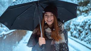 Winter Snow Bokeh Fujifilm Grey Coat Open Coat Coats Smiling Umbrella Scarf Women Outdoors Brunette  4896x3264 Wallpaper