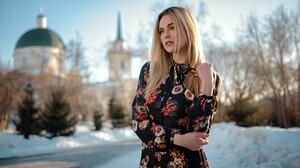 Ashley Booth Women Blonde Portrait Women Outdoors Depth Of Field Snow Dress Sergey Fat 1920x1080 Wallpaper