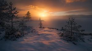 Fog Nature Norway Snow Sunrise Winter 2048x1367 Wallpaper