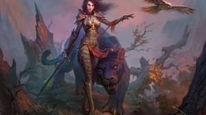 Armor Dragon Eternity Eagle Girl Sword Tiger Woman Warrior 5100x3552 wallpaper