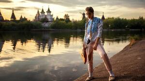 Ksenia Kokoreva Women Portrait River Women Outdoors Yuriy Lyamin Braids Riverside Model 2048x1280 Wallpaper