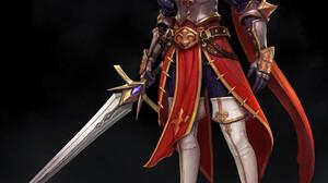 Kim Sung Hwan Drawing Fantasy Art Women Warrior Armor Weapon Sword 3840x4397 Wallpaper