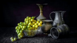 Carafe Grapes Pewter Pitcher 2718x1800 Wallpaper