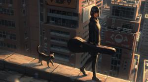 Anime Cityscape GUWEiZ Cats Guitar 2560x1440 Wallpaper