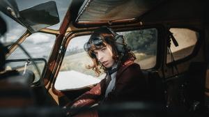 Girl Model Pilot Redhead Sunglasses Woman 2560x1440 wallpaper