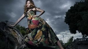 Girl Woman Model Dress Brunette Lipstick 2400x1500 Wallpaper
