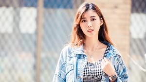 Asian Model Women Long Hair Brunette Depth Of Field Fence Jeans Jacket Wristwatch Dress Looking At V 3000x2492 Wallpaper