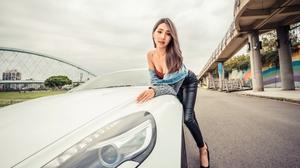Women Model Asian Brunette Long Hair Looking At Viewer Parted Lips Bare Shoulders Jeans Jacket Jacke 4500x3002 Wallpaper