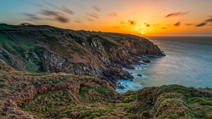 Brittany Cliff Coast France Ocean Sunset 3785x2500 wallpaper