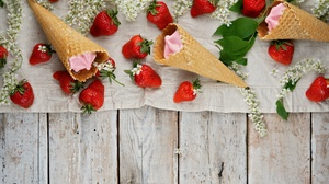 Berry Fruit Ice Cream Still Life Strawberry Waffle Cone 6000x4000 Wallpaper
