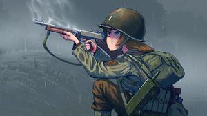War Thompson M1a1 Big Red 1 World War Ii Infantry Rain Soldier Anime Girls Naze1940 Erica 1st Infant 4000x2250 Wallpaper