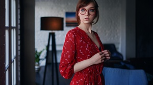 Sergey Fat Sergey Zhirnov Olga Pushkina Model Women Redhead Blue Eyes Glasses Dress Red Dress Depth  1920x1200 Wallpaper