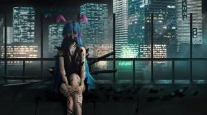 Artwork Women Blue Hair Sword Frontal View 3840x2160 wallpaper