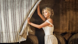 Blonde Girl Model White Dress Woman 1920x1280 wallpaper