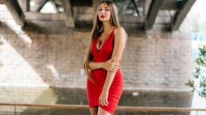 Women Model Legs Dress Red Dress Skinny 2048x1365 Wallpaper