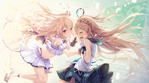 2D Anime Girls Blonde Long Hair Red Eyes Smiling Crying Bare Midriff Tail Wings 2048x1152 Wallpaper