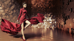 Brunette Girl Hexagon High Heels Model Red Dress Woman 3600x2384 Wallpaper