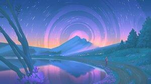 Artwork Nature Stars Night Lake 4096x2303 Wallpaper