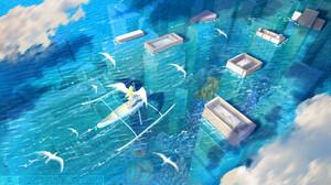 Artwork Fantasy Art Sea City Angel Wings Boat 1920x1200 wallpaper