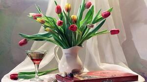 Glass Pitcher Scarf Still Life Tulip Vase 1920x1296 Wallpaper