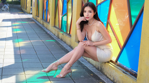 Asian Model Women Long Hair Dark Hair Glass Design Sitting Barefoot Sandal Heels Necklace Bracelets  3840x2560 Wallpaper