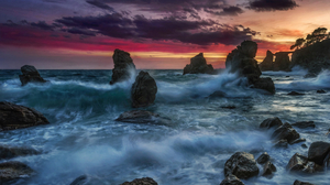 Ocean Sea Rock Sunset Horizon 2500x1601 Wallpaper