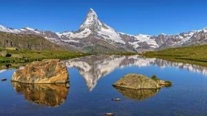 Alps Lake Landscape Matterhorn Nature Peak Reflection Rock Switzerland 2048x1366 wallpaper