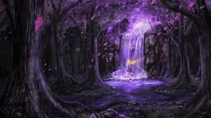 Forest Purple Waterfall 2160x1920 Wallpaper