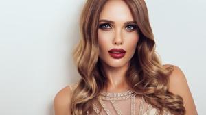 Blue Eyes Brunette Face Girl Lipstick Model Woman 5472x3648 Wallpaper