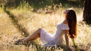 Women Model Women Outdoors Sitting White Dress Hair Hanging Down Sunlight Brunette 2048x1152 Wallpaper