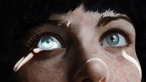Digital Art Simple Background Freckles Dark Hair Nose Eyebrows 4500x2804 Wallpaper