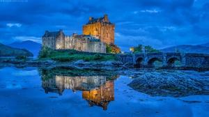 Bridge Reflection Castle Scotland 2048x1152 wallpaper