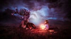 Apple Child Deer Lantern Night 7166x3992 Wallpaper
