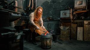 Andrew Vasiliev Men Blacksmith Redhead Beard Apron Working Workshop Tools 2048x1152 Wallpaper