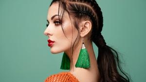 Black Hair Earrings Girl Lipstick Model Ponytail Woman 2048x1536 Wallpaper