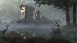 Dark River House Tree Fog Heron 2232x1080 Wallpaper