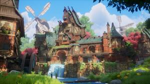Peter Tran CGi Mill Grass Sunlight Windmill Clouds Bricks Architecture Flowers Water 3320x1328 Wallpaper