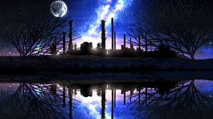 Factory Lake Moon Reflection Starry Sky 3072x1833 wallpaper