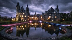 Water Reflection HDR Photography Night Overcast Poland Moszna Castle Bench Lights Pawel Olejniczak 2048x1348 Wallpaper