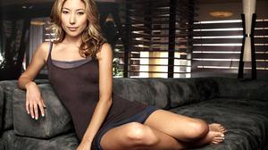 Woman Girl Model Asian Blonde Brown Dress 2592x1927 Wallpaper