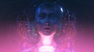 Hologram Face Purple Blue Fantasy Art Frontal View 3000x1503 Wallpaper
