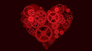 Heart Gears Digital Art Red Background Clockworks 3840x2160 Wallpaper