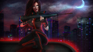 Cyberpunk Futuristic Girl Night Weapon Woman Warrior 3840x2638 Wallpaper