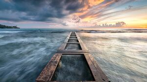 Sunset Landscape Pier Sea Sky Clouds 1920x1080 Wallpaper