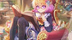 Blonde Book Flower Glasses Pink Eyes Pink Hair Short Hair Smile Teacup Bow Clothing 2160x1680 Wallpaper
