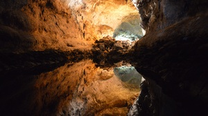 Cave Lanzarote Nature Reflection Spain Water 4512x3000 Wallpaper