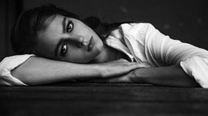 Monochrome Aleksey Trifonov Women Portrait Face Eyebrows 1800x1200 Wallpaper